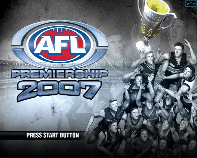 Title screen of the game AFL Premiership 2007 on Sony Playstation 2