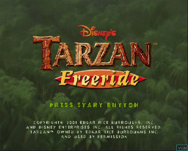 Title screen of the game Tarzan - Freeride on Sony Playstation 2