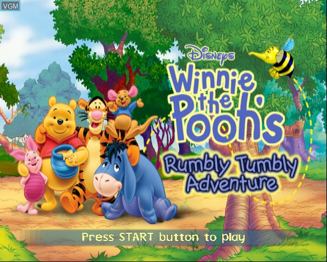 Title screen of the game Winnie the Pooh's Rumbly Tumbly Adventure on Sony Playstation 2