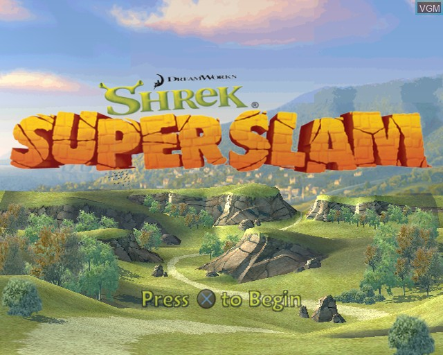 Title screen of the game Shrek SuperSlam on Sony Playstation 2
