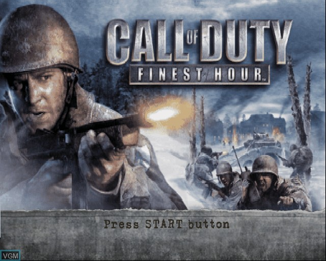 Title screen of the game Call of Duty - Finest Hour on Sony Playstation 2