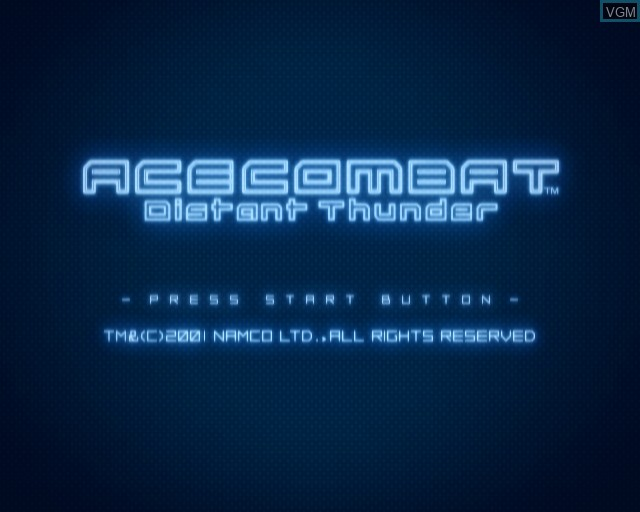 Title screen of the game Ace Combat - Distant Thunder on Sony Playstation 2