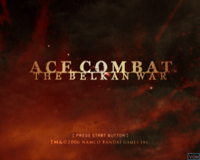 Title screen of the game Ace Combat - The Belkan War on Sony Playstation 2