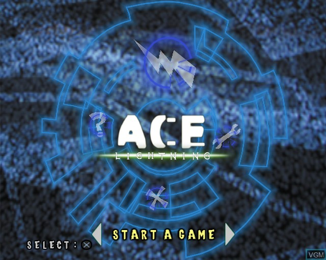 Title screen of the game Ace Lightning on Sony Playstation 2
