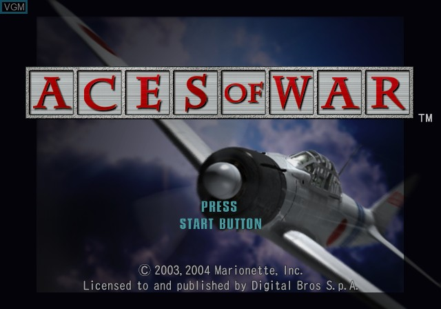 Title screen of the game Aces of War on Sony Playstation 2