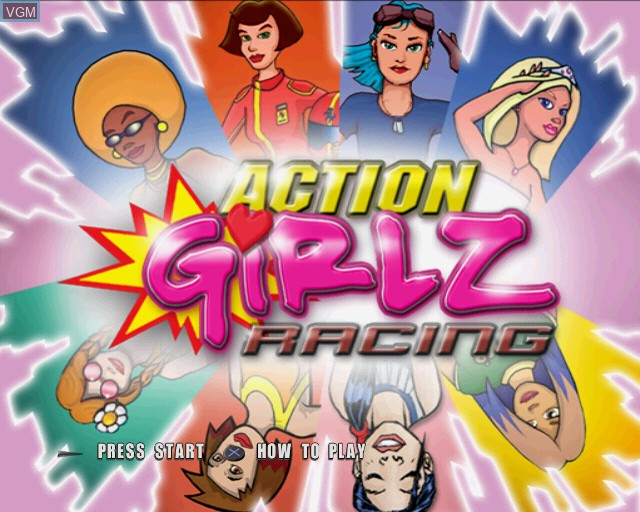 Title screen of the game Action Girlz Racing on Sony Playstation 2