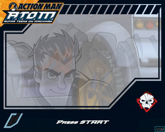 Title screen of the game Action Man A.T.O.M. - Alpha Teens on Machines on Sony Playstation 2
