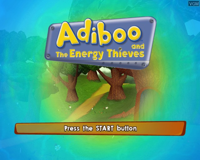 Title screen of the game Adiboo and the Energy Thieves on Sony Playstation 2