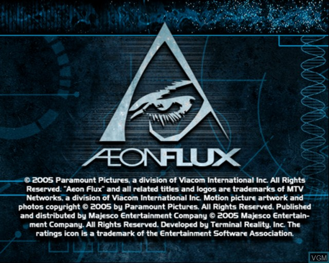 Title screen of the game Aeon Flux on Sony Playstation 2
