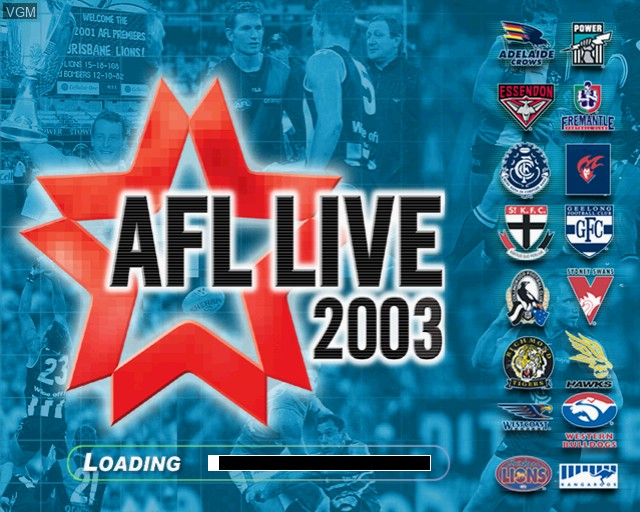 Title screen of the game AFL Live 2003 on Sony Playstation 2