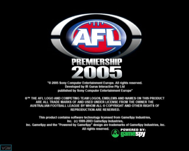 Title screen of the game AFL Premiership 2005 - The Official Game of the AFL Premiership on Sony Playstation 2