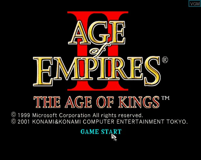 Title screen of the game Age of Empires II - The Age of Kings on Sony Playstation 2