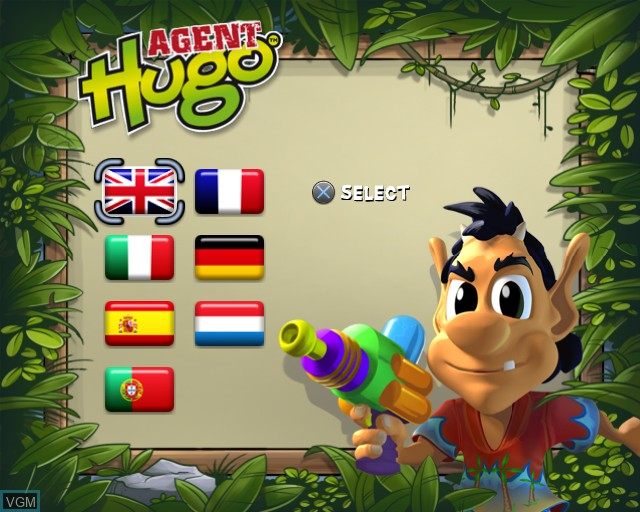 Title screen of the game Agent Hugo - Hula Holiday on Sony Playstation 2