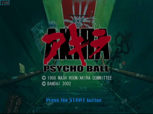Title screen of the game Akira Psycho Ball on Sony Playstation 2