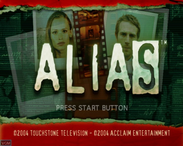 Title screen of the game Alias on Sony Playstation 2