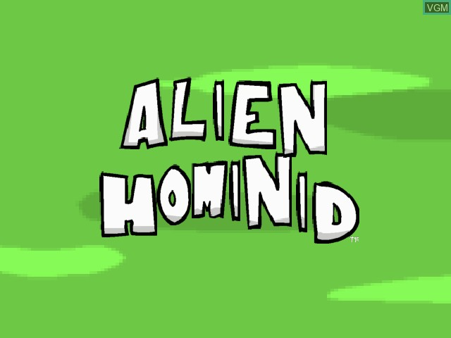 Title screen of the game Alien Hominid on Sony Playstation 2