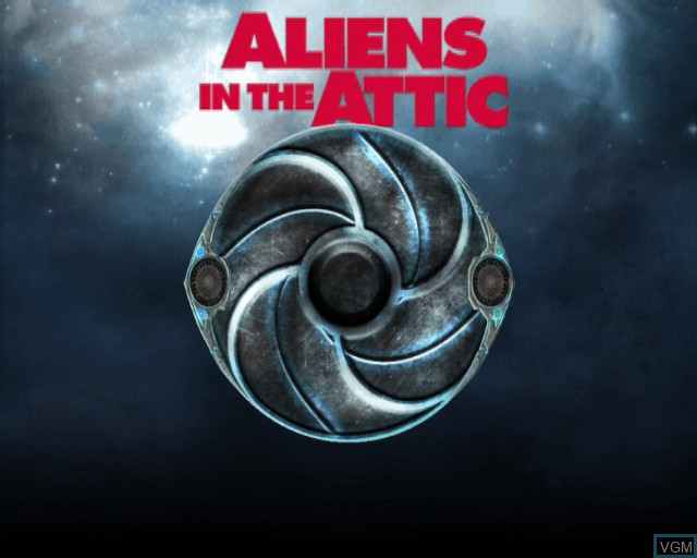 Title screen of the game Aliens in the Attic on Sony Playstation 2