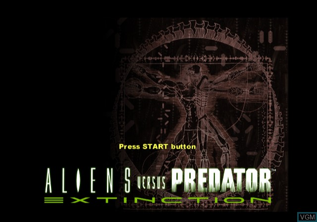 Title screen of the game Aliens Versus Predator - Extinction on Sony Playstation 2