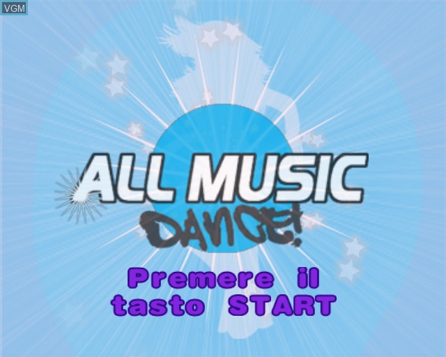 Title screen of the game All Music Dance on Sony Playstation 2