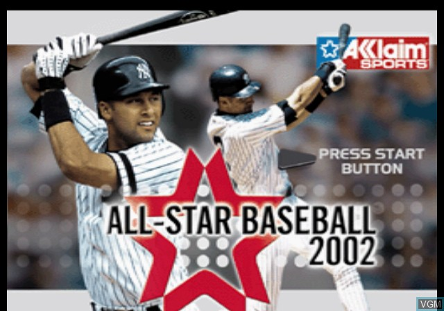 Title screen of the game All-Star Baseball 2002 on Sony Playstation 2