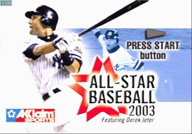 Title screen of the game All-Star Baseball 2003 on Sony Playstation 2