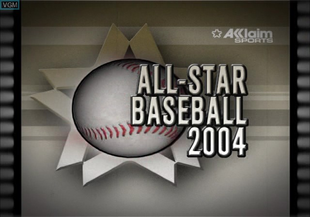 Title screen of the game All-Star Baseball 2004 on Sony Playstation 2
