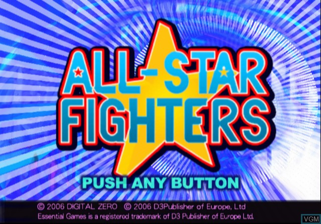 Title screen of the game All-Star Fighters on Sony Playstation 2