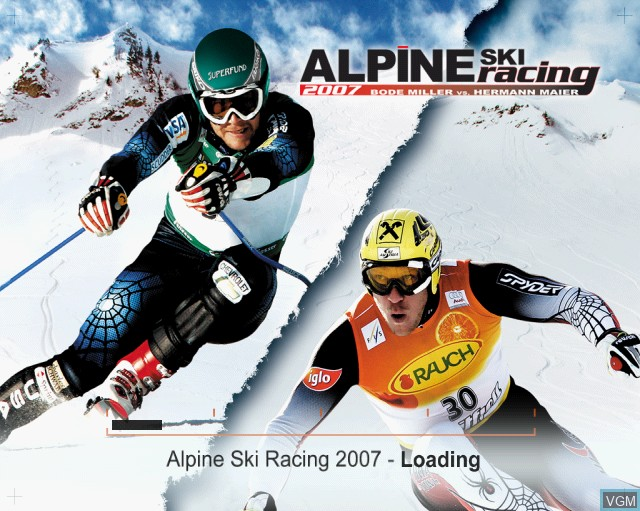 Title screen of the game Alpine Ski Racing 2007 on Sony Playstation 2
