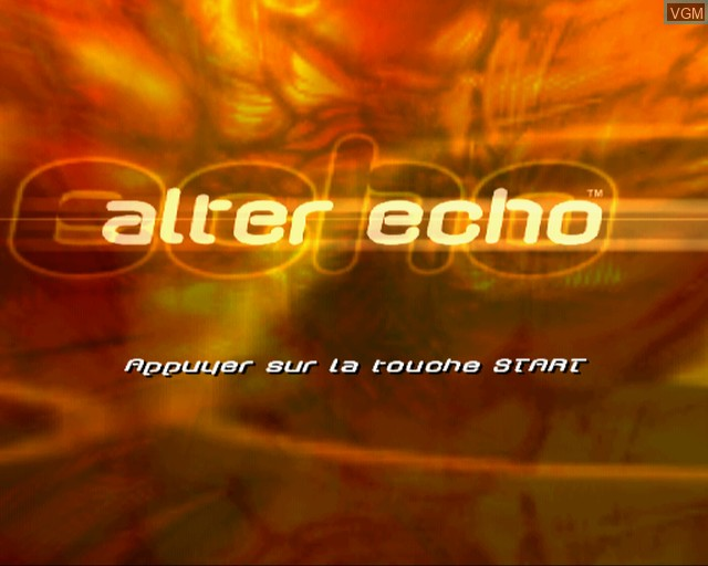 Title screen of the game Alter Echo on Sony Playstation 2