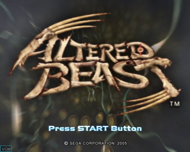 Title screen of the game Altered Beast on Sony Playstation 2