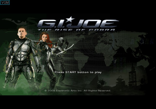 Title screen of the game G.I. Joe - The Rise of Cobra on Sony Playstation 2