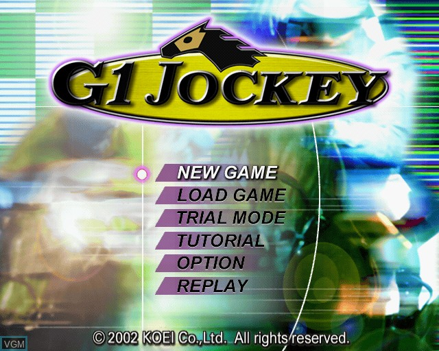 Title screen of the game G1 Jockey on Sony Playstation 2