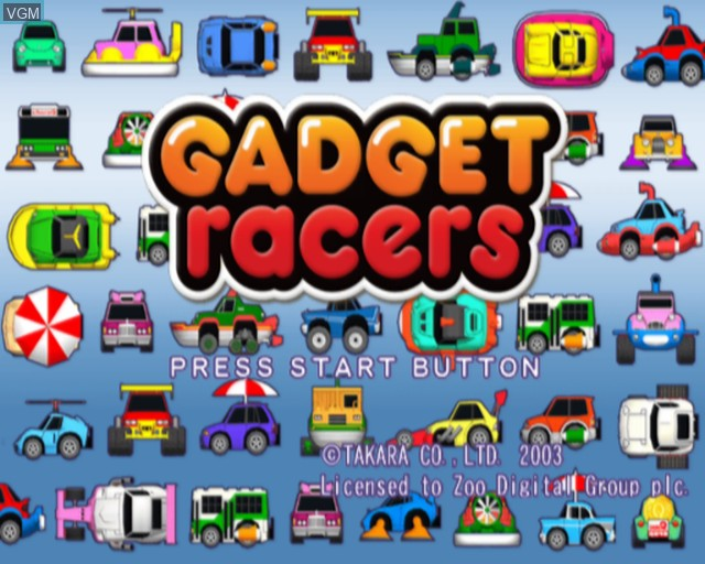 Title screen of the game Gadget Racers on Sony Playstation 2
