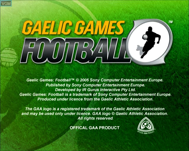 Title screen of the game Gaelic Games - Football on Sony Playstation 2