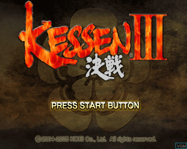 Title screen of the game Kessen III on Sony Playstation 2