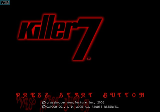 Title screen of the game Killer7 on Sony Playstation 2