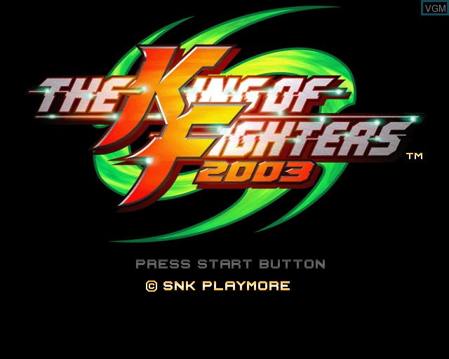 Title screen of the game King of Fighters 2003, The on Sony Playstation 2