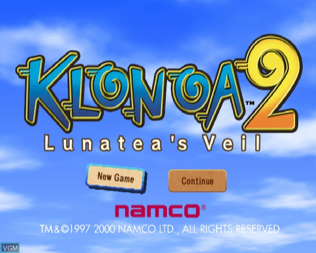 Title screen of the game Klonoa 2 - Lunatea's Veil on Sony Playstation 2