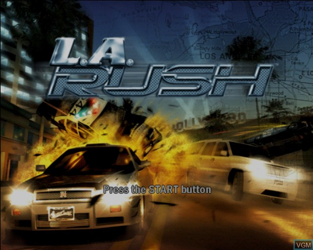 Title screen of the game L.A. Rush on Sony Playstation 2
