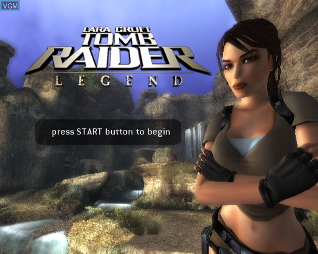 Title screen of the game Tomb Raider - Legend on Sony Playstation 2