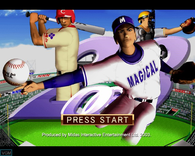 Title screen of the game League Series Baseball 2 on Sony Playstation 2