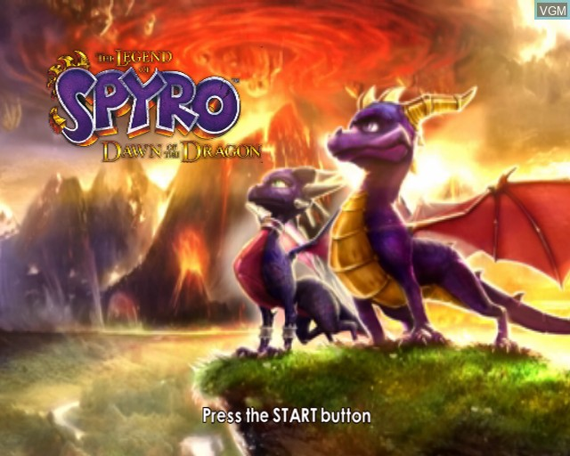Title screen of the game Legend of Spyro, The - Dawn of the Dragon on Sony Playstation 2