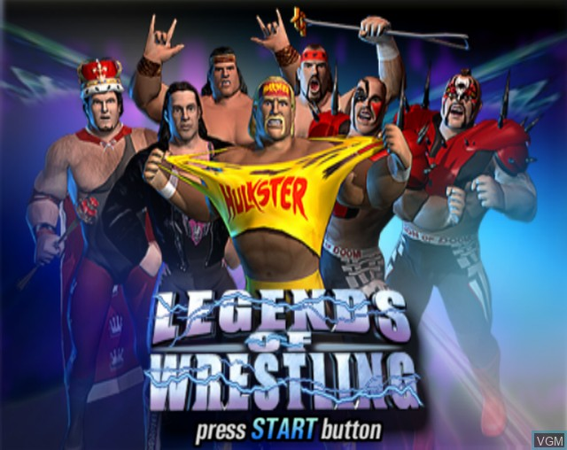 Title screen of the game Legends of Wrestling on Sony Playstation 2