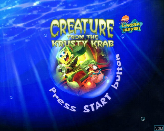 Title screen of the game SpongeBob SquarePants - Creature from the Krusty Krab on Sony Playstation 2