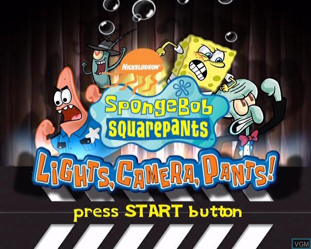 Title screen of the game SpongeBob SquarePants - Lights, Camera, Pants! on Sony Playstation 2