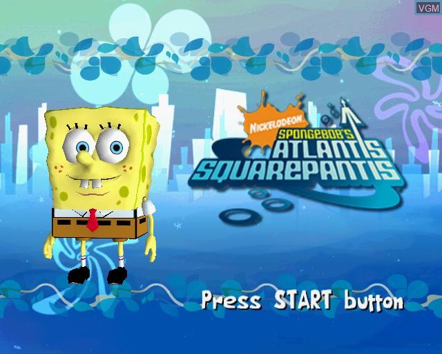 Title screen of the game SpongeBob's Atlantis SquarePantis on Sony Playstation 2