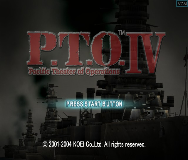 Title screen of the game P.T.O. IV - Pacific Theater of Operations on Sony Playstation 2