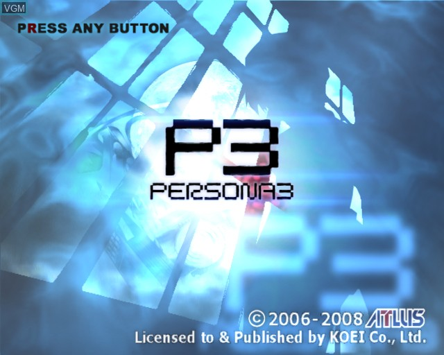 Title screen of the game Shin Megami Tensei - Persona 3 on Sony Playstation 2