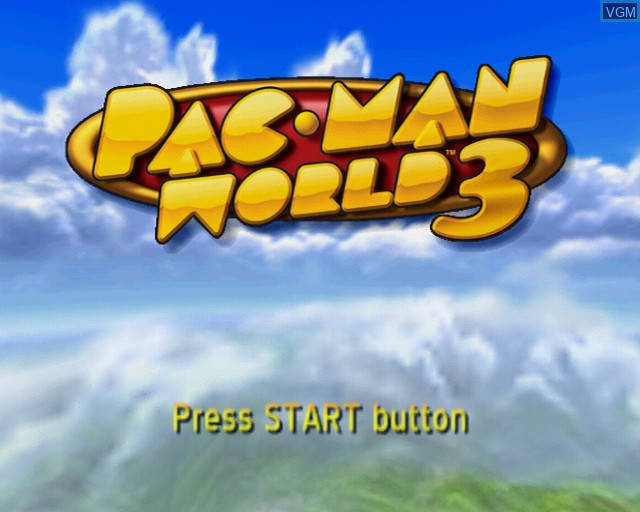 Title screen of the game Pac-Man World 3 on Sony Playstation 2