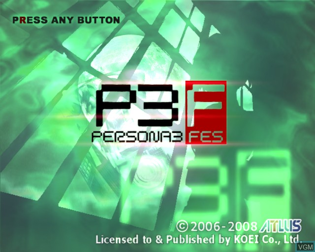 Title screen of the game Shin Megami Tensei - Persona 3 FES on Sony Playstation 2